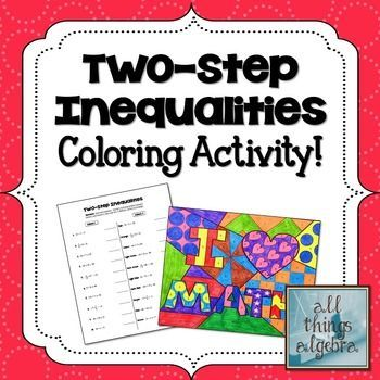TwoStep Inequalities Coloring Activity Teaching math