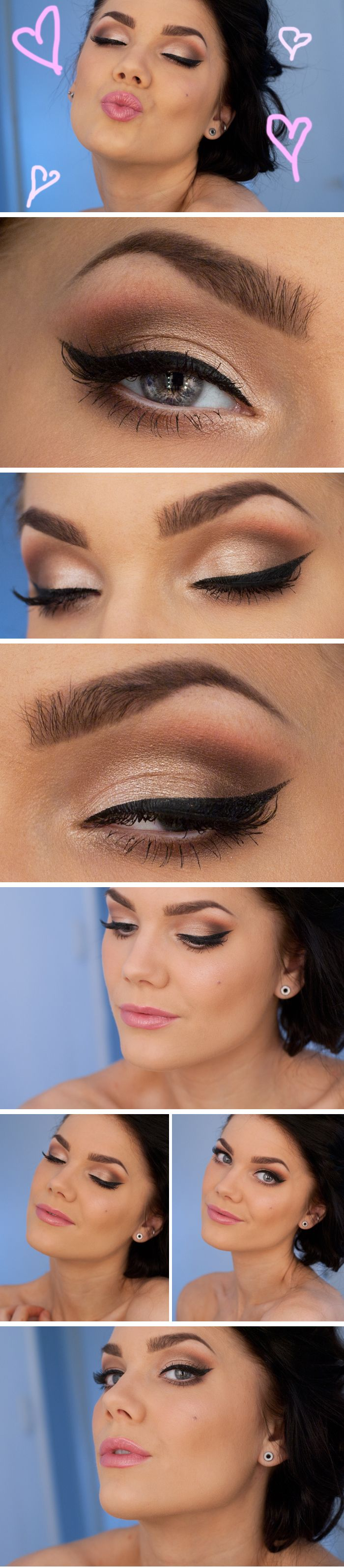 Easy to do with Mary Kay colors. From brow bone to eye lid (top to bottom): White Lilly, Precious pink, chocolate kiss and crystaline. Gel eye liner (Jet Black) and Ultimate mascara in black.  #wedding #makeup. Special occasion. #bride