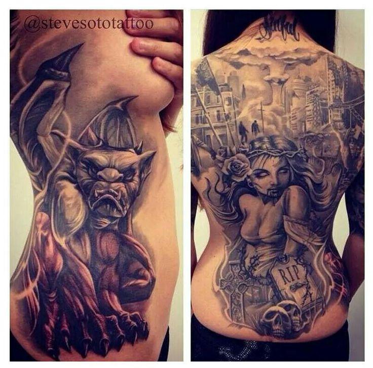 Gargoyle on the left. Love it Tattoos Pinterest