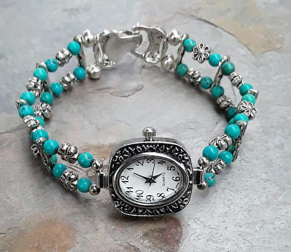 Hey, I found this really awesome Etsy listing at https://www.etsy.com/au/listing/573921210/beaded-turquoise-watch-bracelet