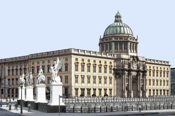 Berlin Slott - slik det vil fremstå etter gjenoppbygging. De siste delene av det gamle (utbombede) slottet ble revet av DDR-myndighetene.