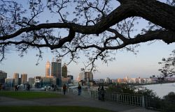 TWA-0012682 © WestPix For Panasonic Lumix CM1 review. Pic taken of Perth CBD from Kings Park during magic hour just before sunset. Aperture priority setting, f:8.0 1/60th sec, -2/3 stop correction. Hand held. Picture: Mogens Johansen. The West Australian.