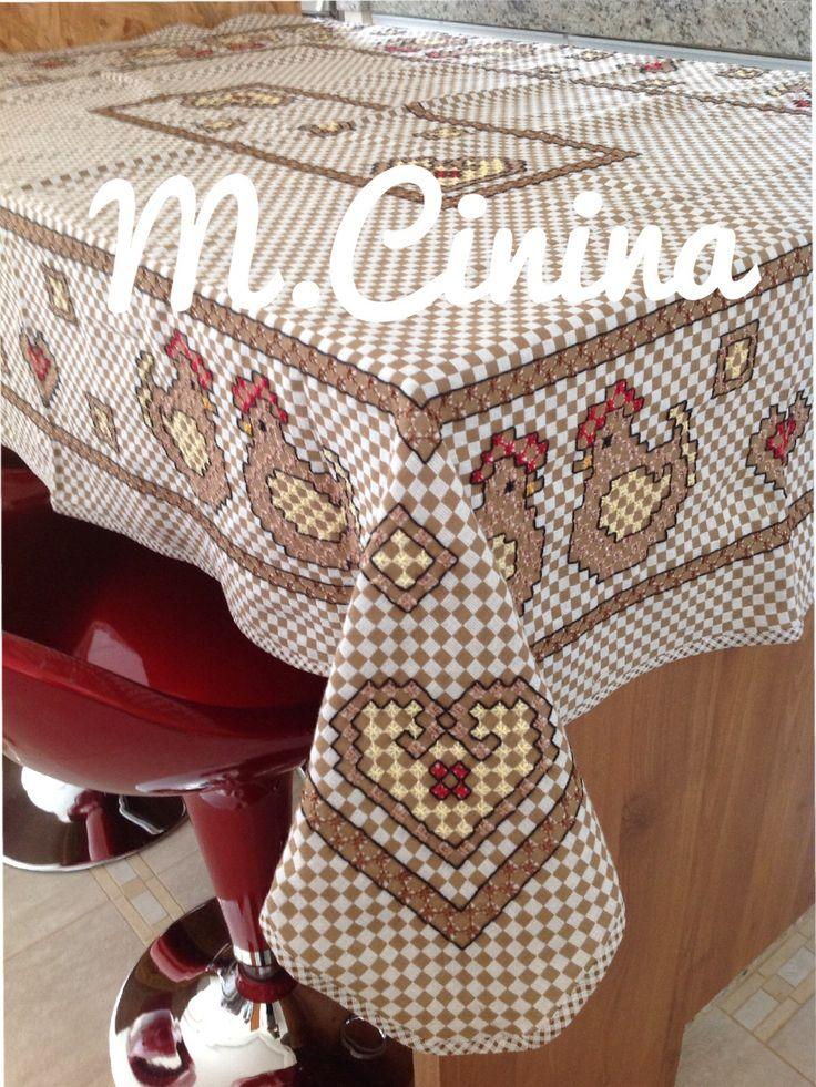 Bordado em tecido xadrez @M.cinina                                                                                                                                                                                 Mais