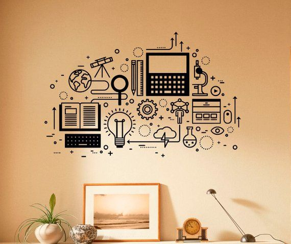 Computer Technology Wall Decal Vinyl Sticker Science Education Home Interior Classroom Art Decor (29nsc)