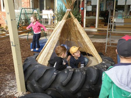 Tractor tyre sandpit teepee. Gloucestershire Resource Centre http://www.grcltd.org/scrapstore/