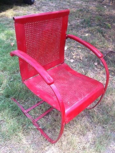 Vintage Retro Red Mid Century Iron Metal Patio Lawn Garden