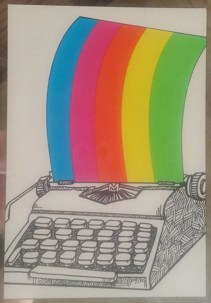 Vintage Framed Typewriter Art Rainbow Line Drawing Greeting Card 1978 Metal 9in #MaiaGraphics #Vintage