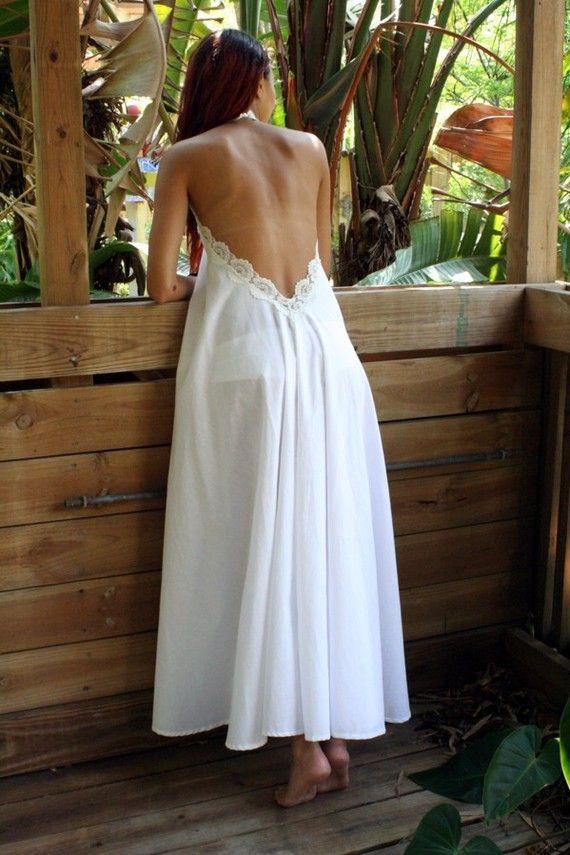 100% algodón blanco camisón sin espalda encaje Halter noche