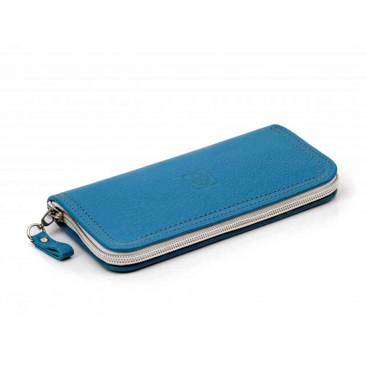 Синий кожаный кошелек на молнии ручной работы   Дизайнер Leonid Titow   СПб