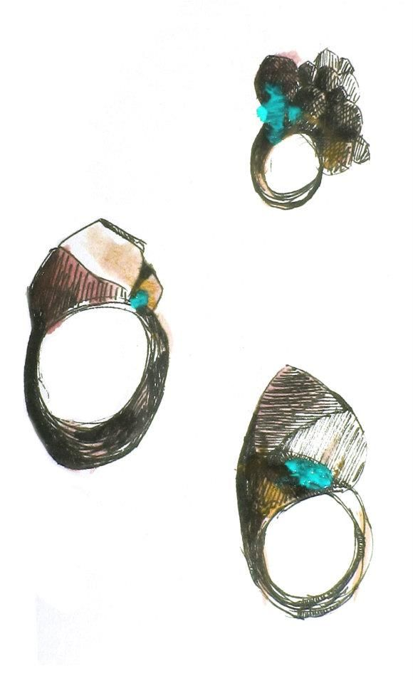 Celina Gram: ink & paint ring illustrations - jewellery design sketch