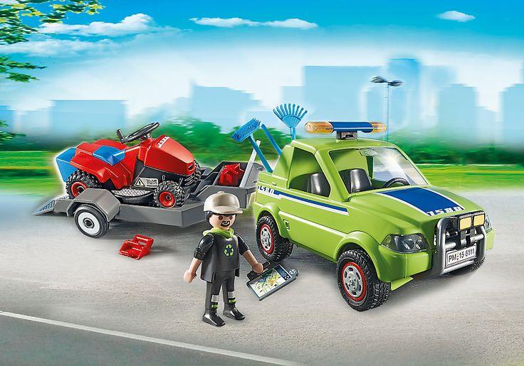 Jardinier avec véhicule et tracteur tondeuse - 6111 - PLAYMOBIL® France