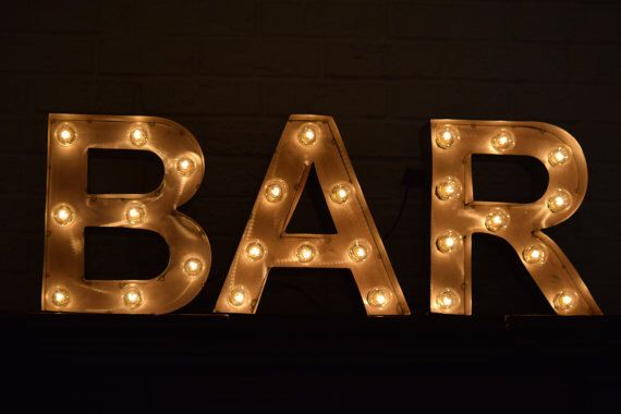 BAR Marquee Sign Metal Letter Light Marquee Letter Light Special Events  Weddings Metal Letters For Wall by MarqueeManiaDesigns on Etsy https://www.etsy.com/listing/493159154/bar-marquee-sign-metal-letter-light