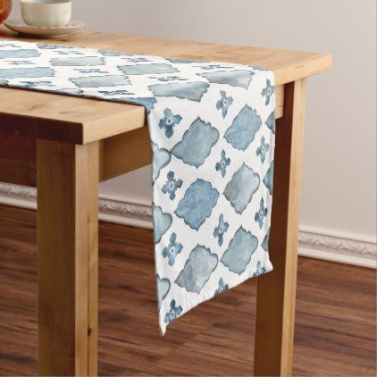 Blue And White Watercolor Moroccan Tile Pattern Short Table Runner