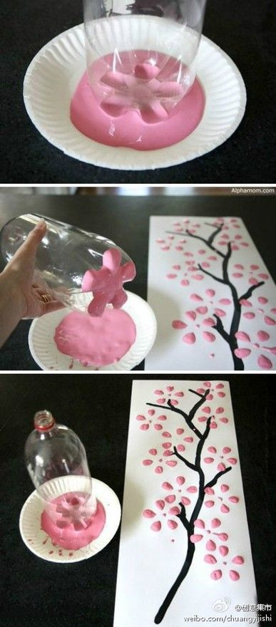 DIY: Pop Bottle, Cherries Blossoms, Idea, Kids Crafts, Blossoms Trees, Sodas Bottle, Paintings Brushes, Paper Plates, Flowers Paintings