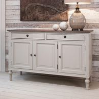 Painted Sideboard with Wooden Top - Light Grey