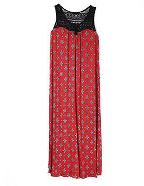red tile print slip dress