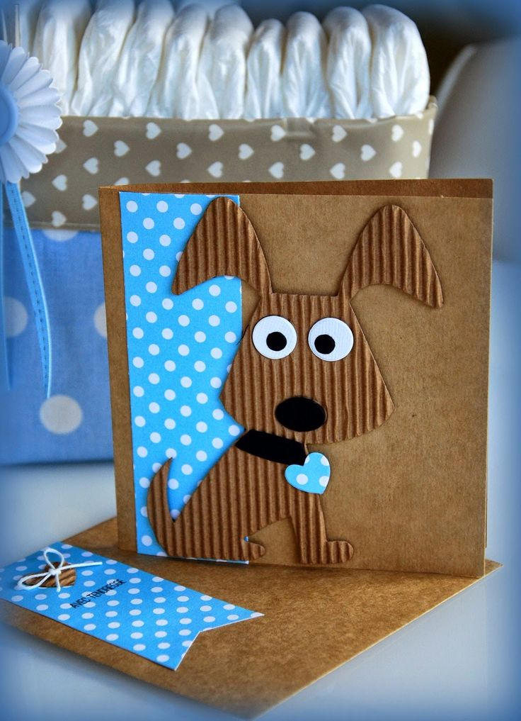handmade card from Currants & CO ... adorable machine cut dog ... corrugated paper ... blue print paper with white polka dots ... matching envelope ...