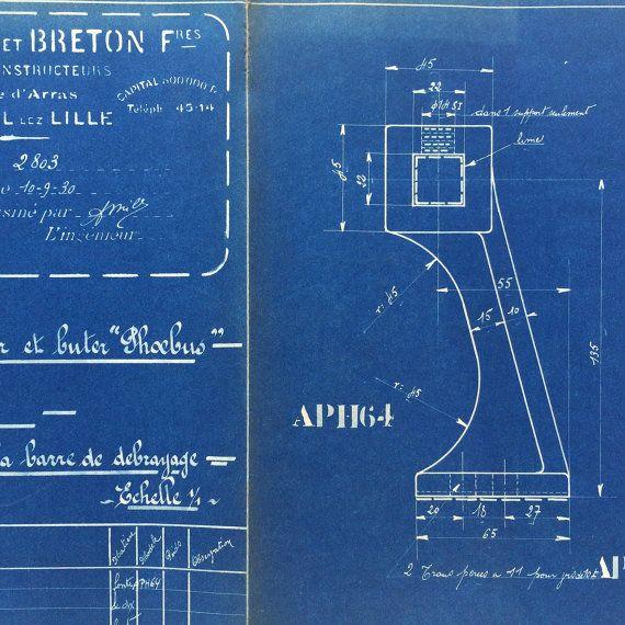 French industrial engineering blueprint от VintageCuriosityShop