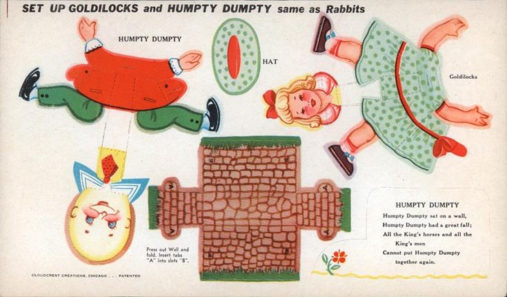 Mother Goose and other Popular Characters - Goldilocks and Humpty Dumpty