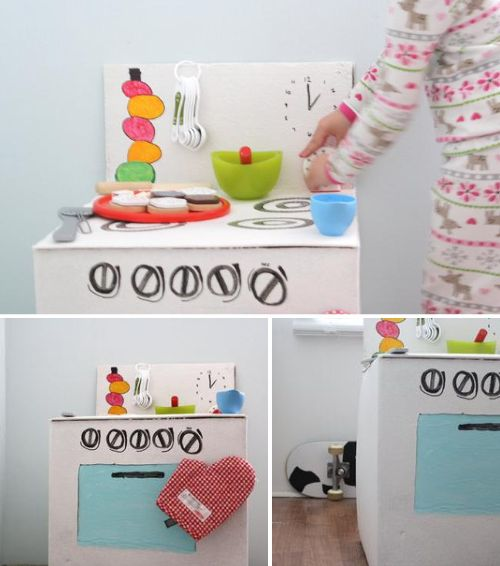 cool cardboard kitchen tutorial: Diy'S, Playkitchen Kidsroom, Kitchen Tutorial, Diy Cardboard, Play Ideas, Play Kitchens