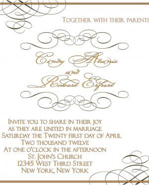 Awesome Writing Ink With Classic Font Free Printable Wedding Invitation Template