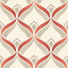 Retro - Geometric - Art Deco - Trellis - Red / Beige / Cream - Wallpaper