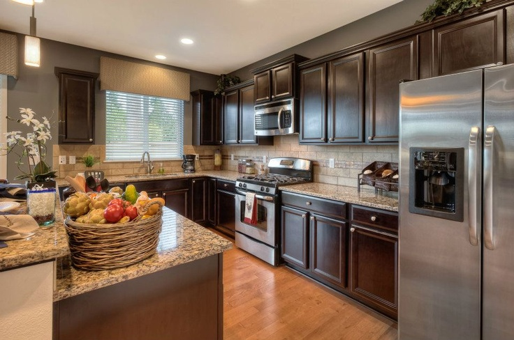 Dark Light Woods Used Together In This Kitchen Creates A Bold Look Dr Horton Kitchen