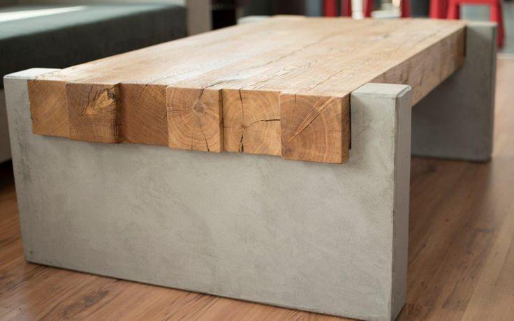 MainTisch Betontisch Table en bois Table de salon Table basse en chêne 2