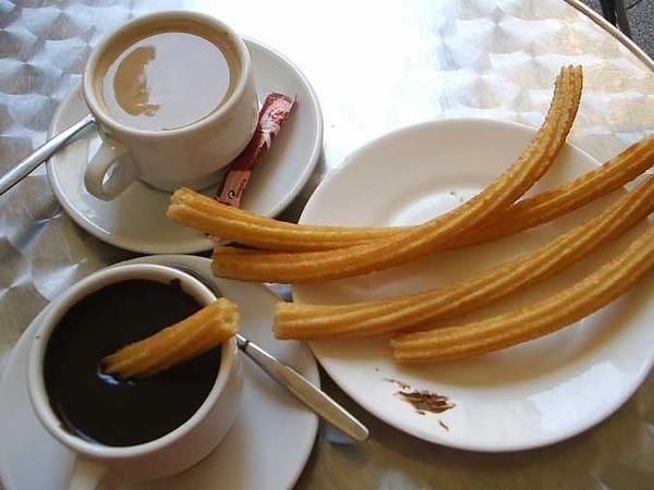 churros sometimes referred to as a Spanish doughnut,is a fried-dough pastry—predominantly choux—based snack.There are two types of churros in Spain, one which is thin (and sometimes knotted) and the other which is long and thick (porra). They are both normally eaten for breakfast dipped in hot chocolate or café con leche.