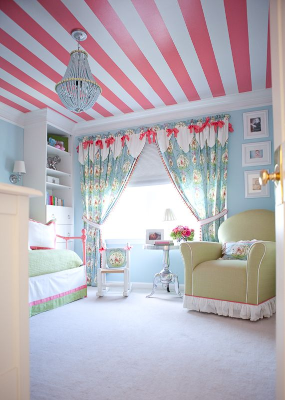 What a fun little girl's room!: Paintings Ceilings, Idea, Curtains, Color, Girls Bedrooms, Big Girls Rooms, Little Girls Rooms, Stripes Ceilings, Kids Rooms