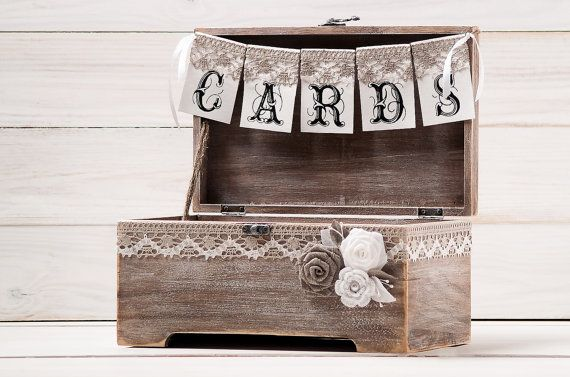 Rustic Wedding Card Box Holder with Burlap and Lace Cards Banner  Wedding Card Gift Box Wooden Chest Shabby Chic Flowers Wedding Sign on Etsy, $86.79 AUD