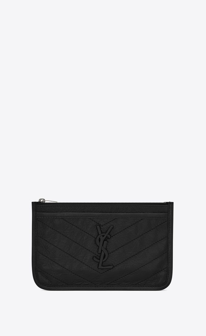 773d2484d9 SAINT LAURENT NIKI bill pouch in crinkled vintage leather ...