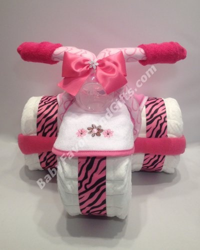 Hot Pink Zebra Tricycle Diaper Cake http://babyfavorsandgifts.com/hot-pink-zebra-tricycle-diaper-cake-p-279.html