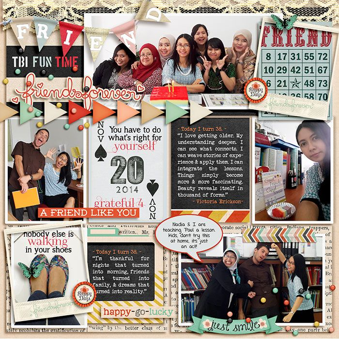 20.11.2014 Bunda's 38 B'day. A friend like you by Juliana Kneipp and Meghan Mullen. Choose Happy by Digilicious Designs and Tickled Pink Studio. 365 Unscripted : Stitched Grids 7 by Traci Reed.