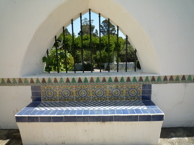 Outdoor Bench at Casa del Herrerro, Santa Barbara, Califoria 1920s Spanish Revival