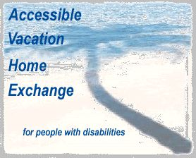 image of palm tree and beach with text, Accessible Vacation Home Exchange for people with disabilities