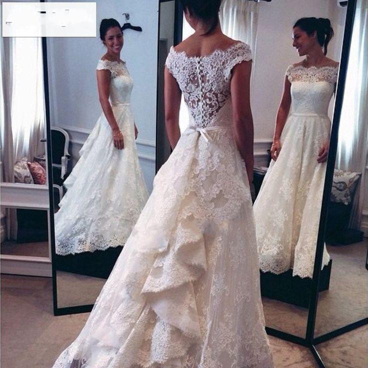 Vintage Wedding Dress Sexy Boat Neckline Long Bridal