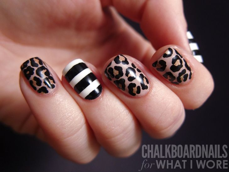 leopard print and stripey nail art
