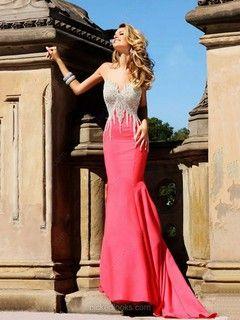 Satin Sweetheart Court Train Trumpet/Mermaid Beading Prom Dresses -NZD$218.79