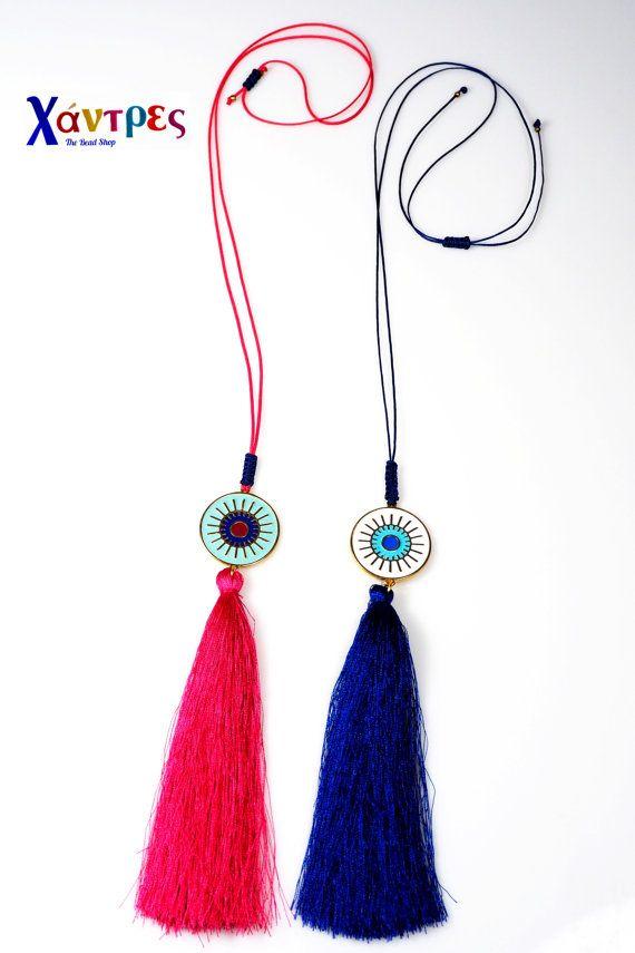 Evil eye tassel necklaceCristmas giftLayering by GreekBeadShop