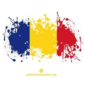 PublicDomainVectors.org-Vector flag of the Republic of Romania inside ink spatter shape.