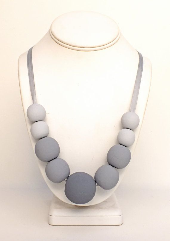 Ombre Handpainted Natural Wood Bead Statement Necklace - Fifty Shades