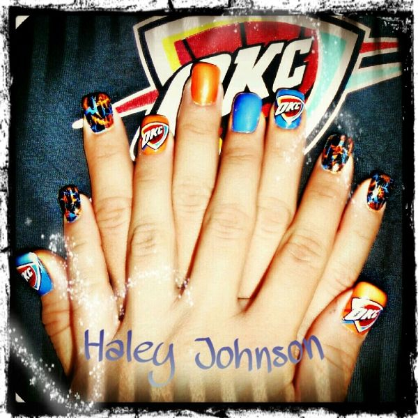 40 best nails thunder images on pinterest thunder nail art this is really cute okc thunder fan nail art prinsesfo Image collections