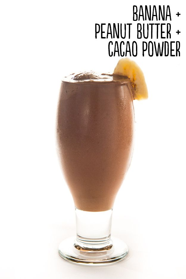 Bananarama | Healthy Smoothies Made With 3 Ingredients -- How to: Place 1 peeled frozen banana, 2 tablespoons peanut or almond butter, 2 tablespoons cacao powder, and 1/3 cup water into a blender. Blend until smooth. Serves 1. Extras: Throw in protein powder, 2 tablespoons shredded, unsweetened coconut, a handful of raw almonds, pinch ground cinnamon, or 2 tablespoons rolled oats.