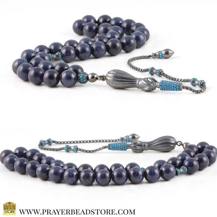 Sapphire Prayer Beads with Zirconia & Sterling Silver #prayerbeads #tasbih #worrybeads #sapphire