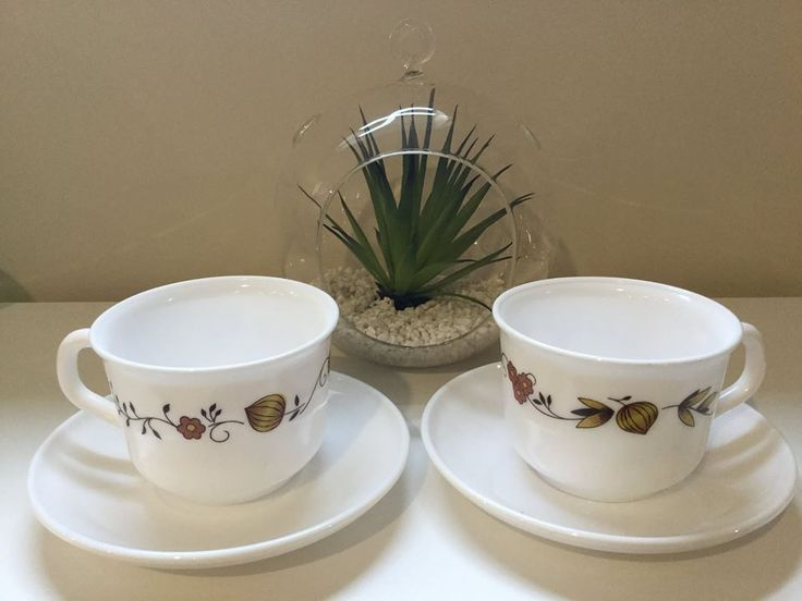 Vintage Arcopal France 'Brown Onion' Cups & Saucers - $7 for pair