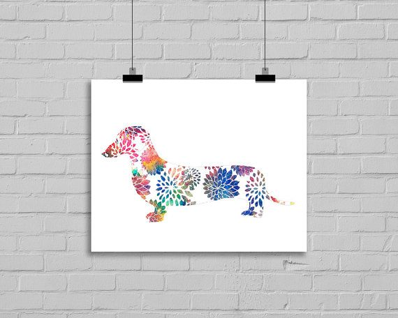 Rainbow Floral Dachshund Sausage Dog Print 7x5 Watercolor Painting Print Watercolour Doxie Dog Dashie Print Wall Art