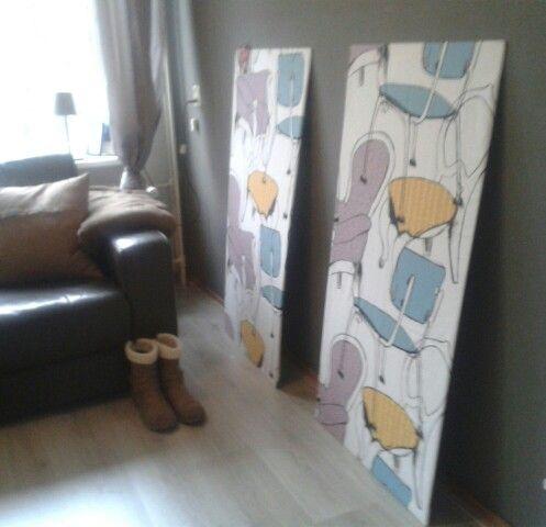 Wand decoratie,  stof van ikea om een houten plaat.