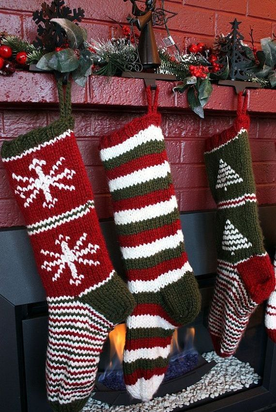 Knitted Sock Stockings Christmas Green
