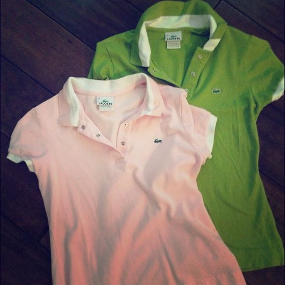 Lacoste Ladies Polo top in olive green size 36. Super chic and comfy Lacoste ladies polo shirt size 36. Perfect for Spring! Choose either olive green🍸or pastel pink🎀. Lacoste Tops